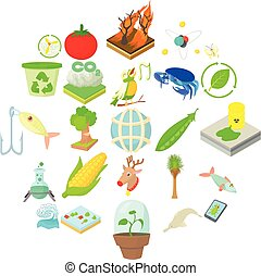 Vegetables icons set, cartoon style