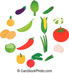 Vegetables icons set, isometric 3d style