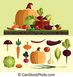 Vegetables icons vector set in flat style. Isolated design elements. Healthy food and organic farm background.