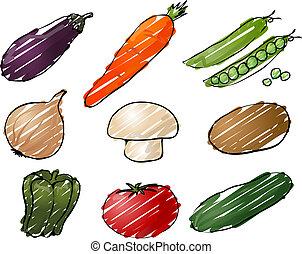 Vegetables illustration - Illustration of vegetables, hand-...