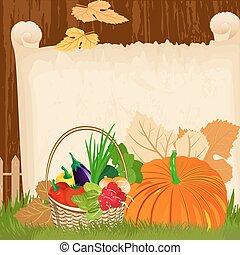 Vegetables in a basket on the paper menu grunge