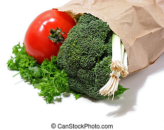 Vegetables in a brown paper bag