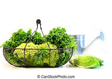Vegetables in a metal basket