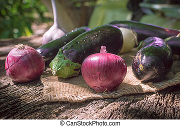 vegetables in a rustic style on wooden background