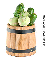 Vegetables in a wooden barrel