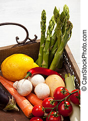vegetables in a wooden tray