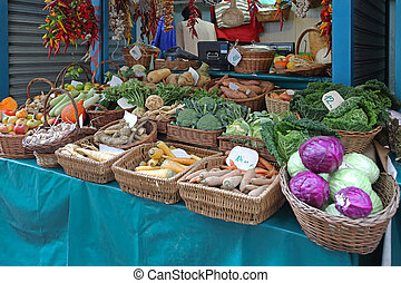 Market Stall - Vegetables in Baskets at Farmers Market Stall