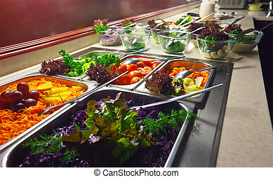 vegetables in buffet - vegetables in trays at buffet