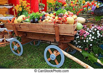 vegetables in cart on fair