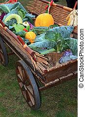 vegetables in cart on rural market