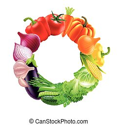 vegetables in circle rainbow colors vector background