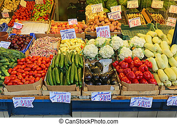 Market Stall - Vegetables in Crates at Farmers Market Stall