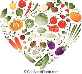Vegetables in shape of heart