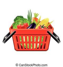 vegetables in supermarket basket isolated vector