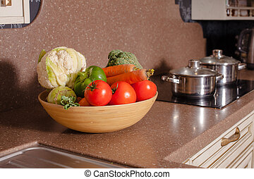 Vegetables in the kitchen