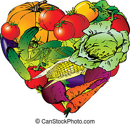 Vegetables frame in the shape of heart. Healthy food. Vector art-illustration on a white background.