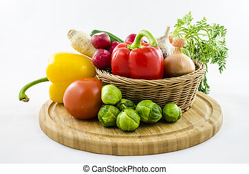 Vegetables in wicker basket.