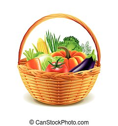 vegetables in wicker basket isolated vector
