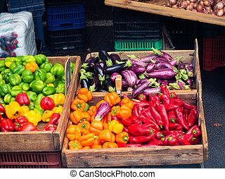 Vegetables in wooden crates