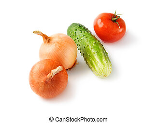 Vegetables isolated on the white background