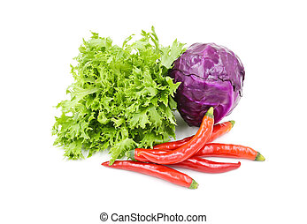 Vegetables isolated on white background.