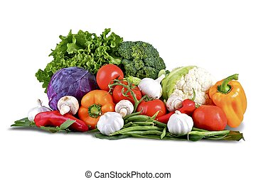 Vegetables Isolated on White. Vegetables Basket: Fresh...