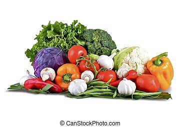 Vegetables Isolated on White. Vegetables Basket: Fresh ...
