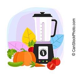Vegetables juice mixer blender concept. Vector flat cartoon design graphic illustration