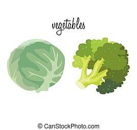 vegetables:, káposzta, és, brokkoli