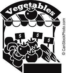 Vegetables kiosk icon, simple style - Vegetables kiosk icon....