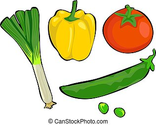 Vegetables - leek, yellow pepper, tomato, pea
