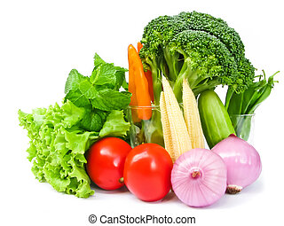 Vegetables  - Many colors of vegetables on white background