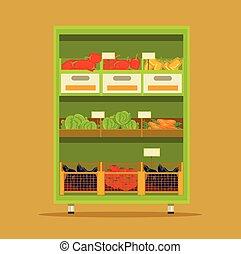 Vegetables market. Vector flat cartoon illustration