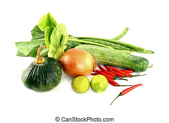 Vegetables mix on white background