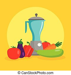 Vegetables mixer concept background, flat style