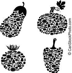 Vegetables of vegetables icon set