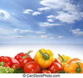 Vegetables on a blue sky background.