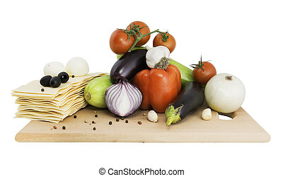 Vegetables on a board for lasagna
