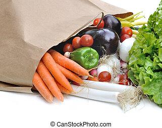 vegetables on a paper bag
