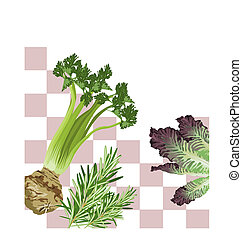Vegetables on a pattern