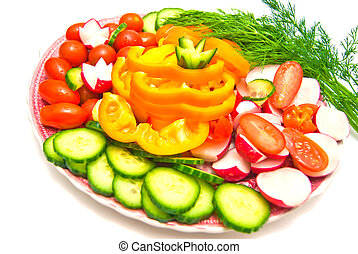 vegetables on a plate on white