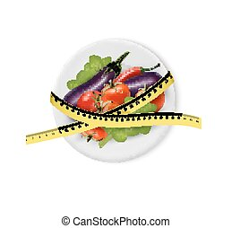 Vegetables on a plate with measuring tape. Dieting concept.