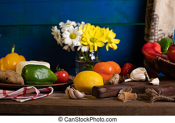 Vegetables on a rustic wooden table