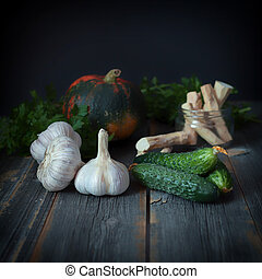 Vegetables on a surface from old boards in style rustic -...