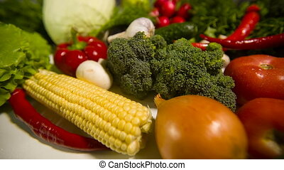 Vegetables on a table - Different raw vegetables on a table