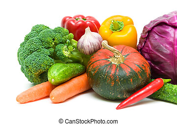 Vegetables on a white background close-up