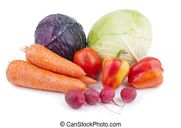 Vegetables on a white background.