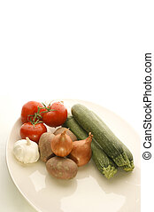 vegetables on a white plate