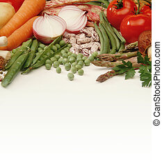 Vegetables on a white table