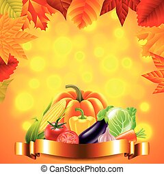vegetables on autumn background with golden ribbon